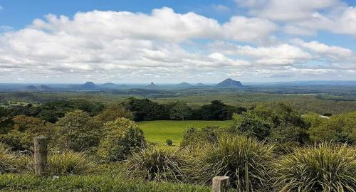 Glasshouse Mountains from the Mary Cairncross Scenic Reserve